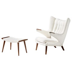 Hans Wegner Boucle Papa Bear Chair and Ottoman