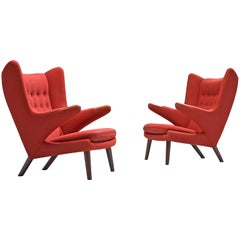 Hans Wegner Pair of Papa Bears Lounge Chairs in Original Red Upholstery