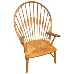 """Hans Wegner """"Peacock"""" Chair in Ash and Teak with Woven Seat, Denmark, 1960s"""
