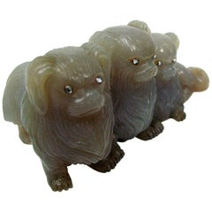 Hardstone Group of Three Pekinese Dogs, Faberge, circa 1900
