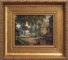 """Village in Paris, France"" Impressionist Landscape Scene Oil Painting on Board"