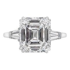 Harry Winston 4.01 Carat Emerald Cut Diamond Three-Stone Engagement Ring