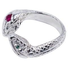 Heart Ruby White Diamond Emerald Snake Ring Silver Open Adjustable J DAUPHIN
