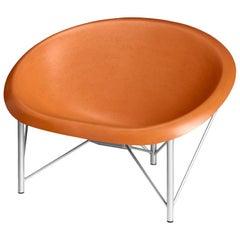 Heated Indoor/Outdoor Cast Stone Helios Love Chair, Custom Frame, Orange