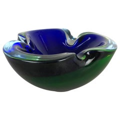 "Heavy Murano Glass ""Blue-Green"" Bowl Element Shell Ashtray Murano, Italy, 1970s"