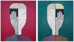 'Untitled Portrait' Abstract Figurative Diptych