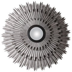 Helios, Mirror in Sand-Blasted Solid Soft Wood with Hand Patinated Silver Leaf