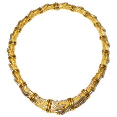 Henry Dunay, Yellow Gold, Platinum and Diamond Collar Necklace