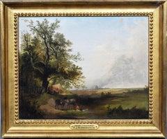 Antique English Bucolic Pastoral Landscape Oil Painting by Henry John Boddington