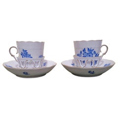 "Herend ""Victoria"" Hand Painted Porcelain Set of Two Chocolate Cups, Hungary 2013"