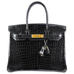 Hérmes 30cm Crocodile Black Birkin Bag