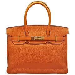 HERMES 30cm Orange Clemence Birkin Bag