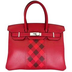 HERMES 30cm Tressage De Cuir Veau Swift Epson Birkin Bag