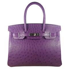 Hérmes 30cm Violet Ostrich Birkin Bag