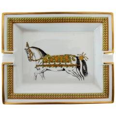 Hermes Ashtray Porcelain Equestrian White Gold Theme Horse 1990s