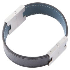 Hermes Bicolor Blue & Black Leather and Palladium Bracelet