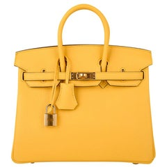 Hermes Birkin 25 Bag Jaune de Naples Novillo Gold Hardware