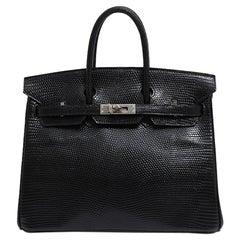 Hermes Birkin 25 Black Lizard Exotic Palladium Top Handle Tote Shoulder Bag