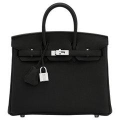 Hermes Birkin 25cm Black Togo Palladium Bag
