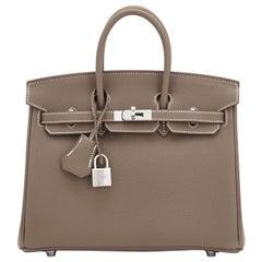 Hermes Birkin 25cm Etoupe Togo Palladium Bag