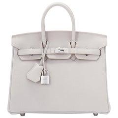 Hermes Birkin 25cm Gris Perle Togo Bag Palladium Hardware Pearl Gray Baby Birkin