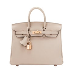 Hermes Birkin 25cm Gris Tourterelle Togo Bag Rose Gold Hardware
