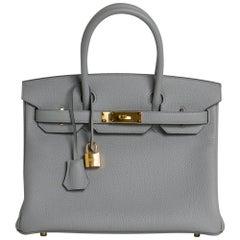 Hermes Birkin 30 Bag Gris Mouette Gold Hardware Togo Leather