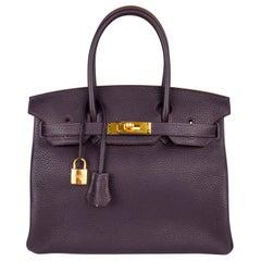 Hermes Birkin 30 Bag Rich Raisin Gold Hardware Original Colour Togo