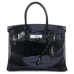 Hermes Birkin 30 Black Shiny Crocodile Top Handle Satchel Tote Bag in Box