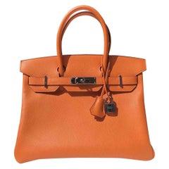 Hermes Birkin 30 Orange Epsom Palladium Hardware