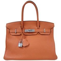 Hermès Birkin 30 Orange Leather Handbag
