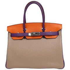 Hermes Birkin 30 Special Order Purple Gray Orange Top Handle Satchel Tote Bag