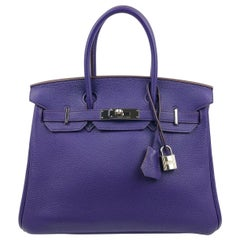 Hermes Birkin 30 Ultraviolet Purple Palladium Hardware