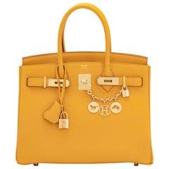 Hermes Birkin 30cm Jaune Ambre Bag Togo Amber Yellow Gold Hardware