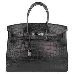 Hermes Birkin 35 Bag So Black Limited Edition Matte Black Alligator