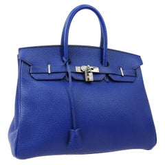 Hermes Birkin 35 Blue Leather Palladium Top Handle Satchel Travel Tote Bag