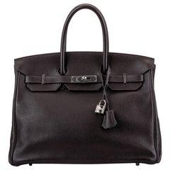 Hermes Birkin 35 cm Ebene Clemence Bag