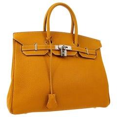 Hermes Birkin 35 Cognac Caramel Leather Silver Top Handle Satchel Tote Bag