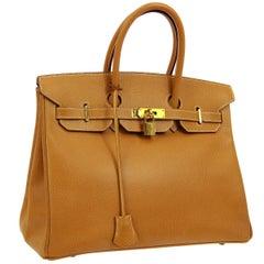 Hermes Birkin 35 Cognac Leather Gold Top Carryall Handle Satchel Travel Tote Bag