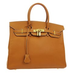 Hermes Birkin 35 Cognac Leather Top Handle Satchel Travel Tote Bag in Box