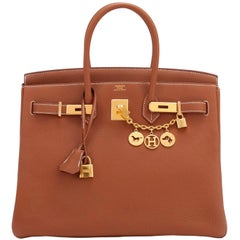 Hermes Birkin 35 Gold Togo Camel Tan Gold Hardware Bag D Stamp