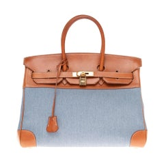 Hermès Birkin 35 handbag in blue denim & brown barenia leather, GHW
