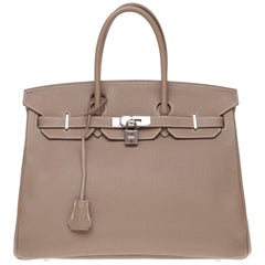 Hermès Birkin 35 handbag in Togo Etoupe leather with Silver Palladium hardware !