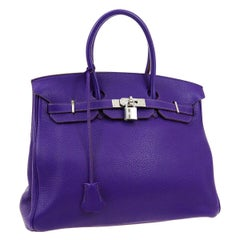 Hermes Birkin 35 Purple Leather Palladium Top Handle Satchel Travel Tote Bag