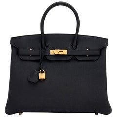 Hermes Birkin 35cm Black Togo Gold Hardware Y Stamp Bag, 2020