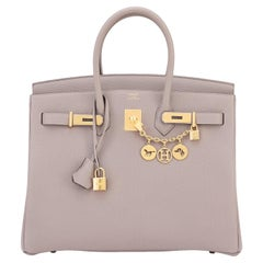 Hermes Birkin 35cm Gris Asphalte Dove Grey Togo Gold Hardware Asphalt Birkin Bag