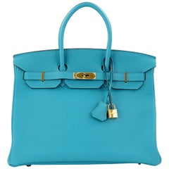 Hermes Birkin 35cm Bright Blue Clemence GHW