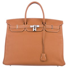 Hermes Birkin 40 Cognac Leather Silver Travel Men's Top Handle Satchel Tote