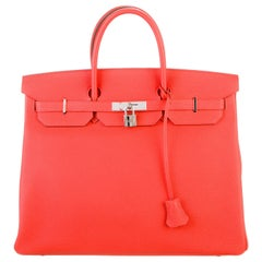 Hermes Birkin 40 Orange Red Leather Silver Travel Men's Top Handle Satchel Tote