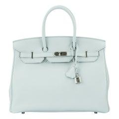 Hermes Birkin Bag 35cm Bleu Pale Clemence PHW
